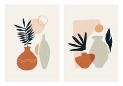 Abstract modern vase with tropical leaf. Minimal trendy art vector flat illustration. Poster print