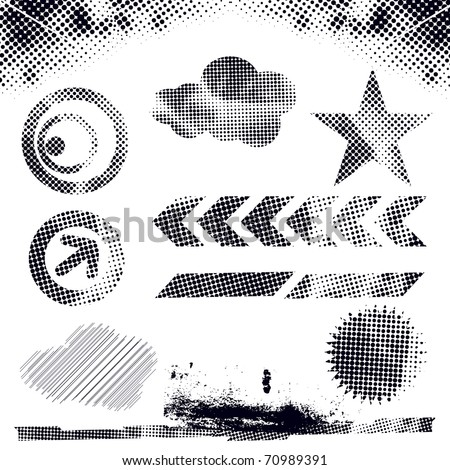abstract modern vector illustration,grunge dots elements with retro shapes,ink splat.