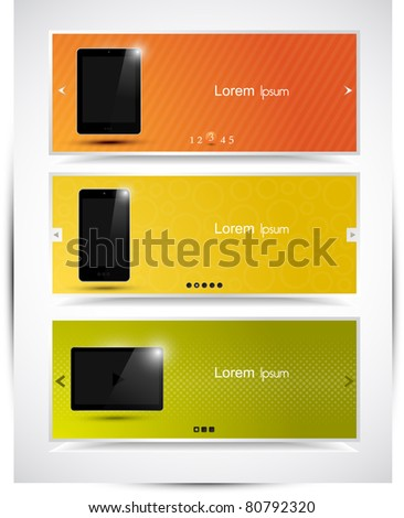 Abstract modern website promotional banner or header set, vector EPS10.