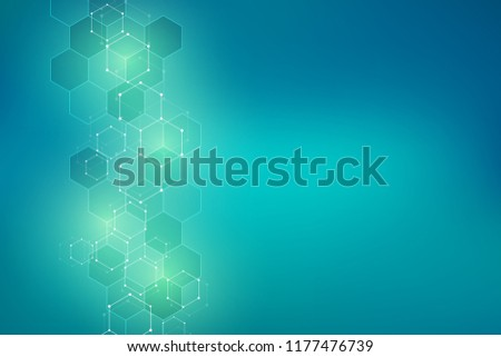 Abstract molecular structure and chemical elements. Medical, science and digital technology concept. Vector geometric background from hexagons pattern