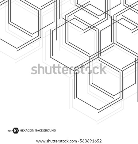 Abstract molecule background. Hexagonal chemistry pattern. Molecular scientific research. Composition of the molecular hexagonal lattice. Medical, science and technology design vector illustration
