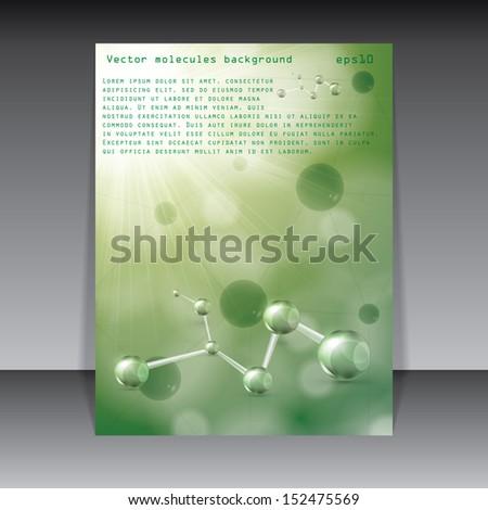 Abstract molecule green background - stock vector