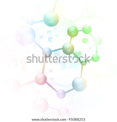 abstract molecule illustration over white background