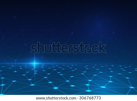 Abstract molecule structure on dark blue color background. Vector illustration of Communication - network for futuristic technology concept