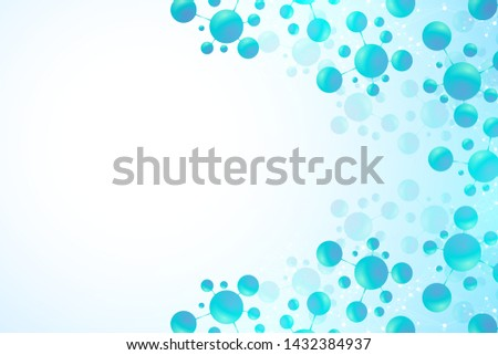 Abstract molecules background. DNA, Atoms. Molecular structure with blue spherical particles. Medical, science and technology innovation concept molecule background. Vector illustration.
