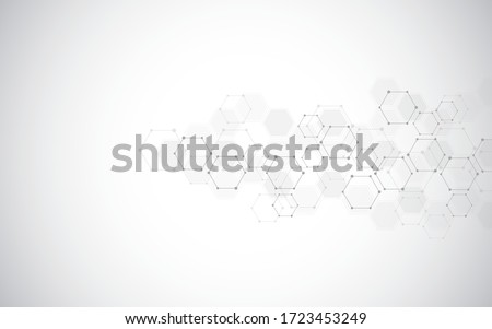 Abstract molecules background. Molecular structures or chemical engineering, genetic research, innovation technology. Scientific, technical, or medical concept. Vector illustration