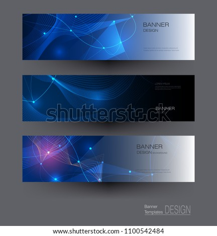 Abstract Molecules banners set with Circles,Lines,Geometric,Polygon. Vector design network communication background. Futuristic digital science technology concept for web banner template or brochure