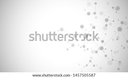 Abstract molecules on gray background. Molecular structures or DNA strand, neural network, genetic engineering. Scientific and technological concept. Vector illustration