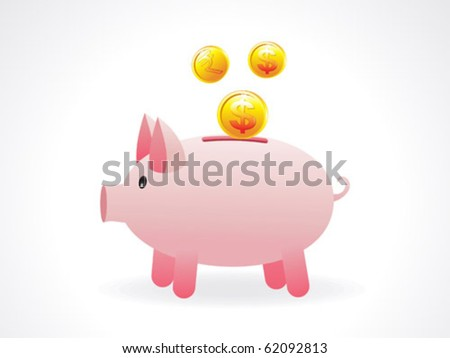 abstract money saving pig icon vector illustration