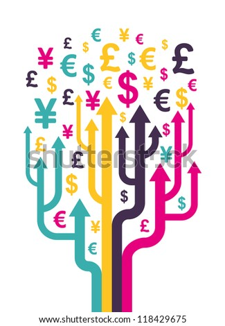 Abstract money tree. Vector illustration.