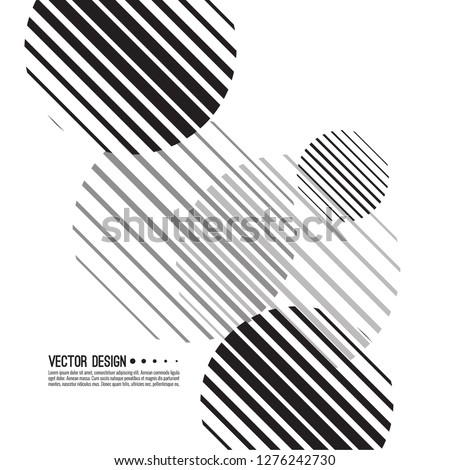 Abstract monochrome background with sphere. Vector dynamical round element. Black and white circle striped.