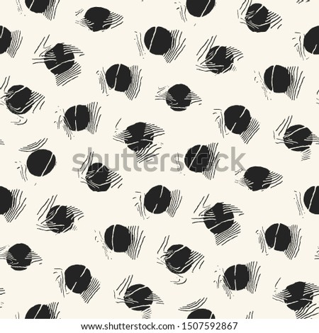 Abstract Monochrome Crumpled Polka Dots Graphic Motif. Seamless Pattern.