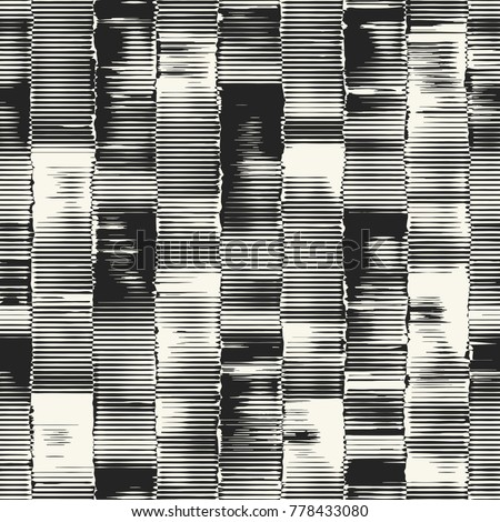 Abstract Monochrome Degrade Block Motif. Seamless Pattern.