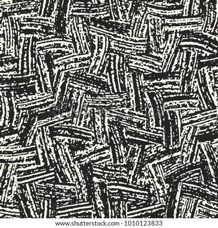 Abstract Monochrome Irregular Brush Stroke Textured Background. Seamless Pattern.