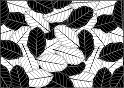 Abstract monochrome leaves pattern . Illustration Autumn, Season, Textile, Black And White, Floral Pattern