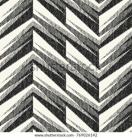 Abstract Monochrome Zigzag Motif Brushed Textured Background. Seamless Pattern.