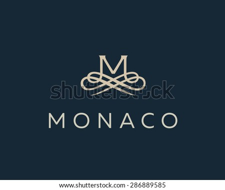 Abstract monogram elegant flower logo icon vector design. Universal creative premium letter M initials ornate signature symbol. Graceful vector sign.