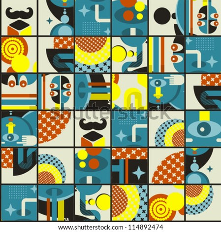 Abstract monsters pattern. Vector illustration in retro style.