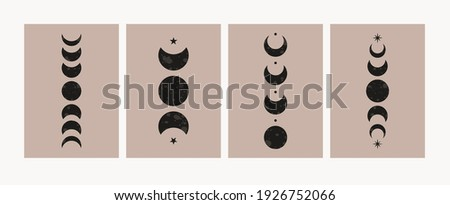 Abstract moon phases posters. Mid century lunar minimalist art decor, mystic contemporary print. Vector design