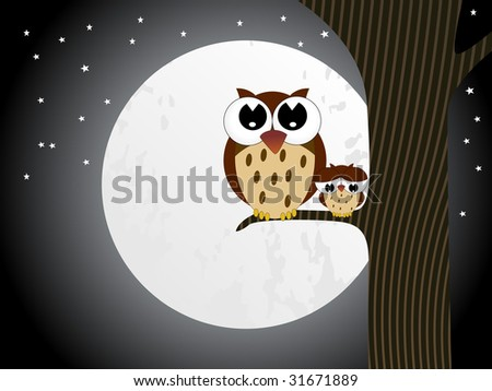 abstract moon, star background with owl and baby owl illustration