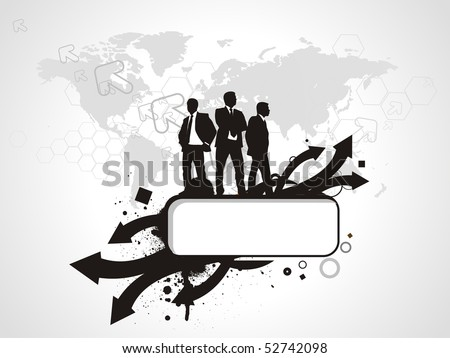 Abstract mosaic background with standing success businessman silhouetted . Vector illustration.