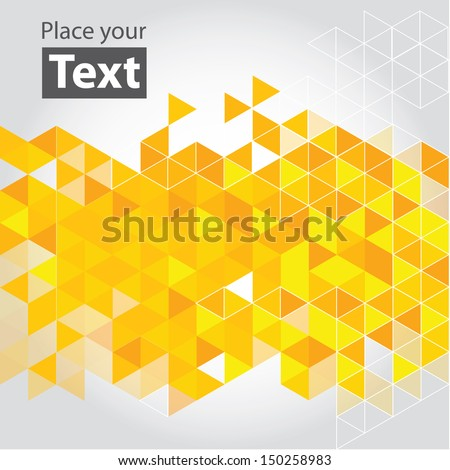 Abstract mosaic background. Yellow cubic geometric background. Design elements. Layered file