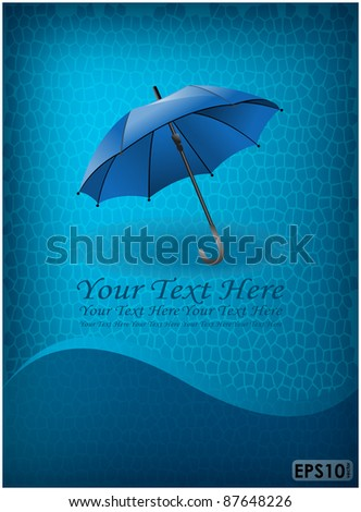 Abstract mosaic blue background and swirl line with open umbrella