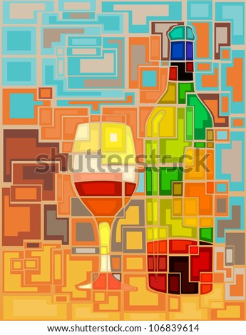 Abstract mosaic editable vector illustration of a wine bottle and glass