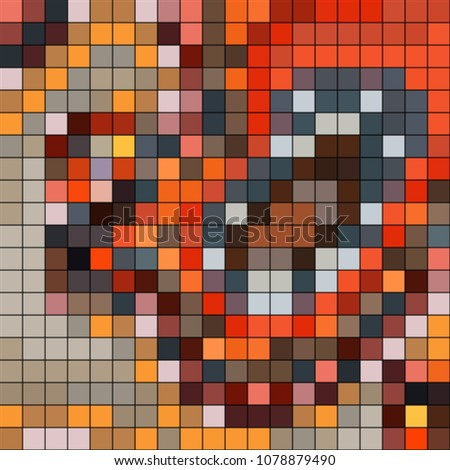 Abstract mosaic pattern formed by squares of different colors. Vector illustration in pixel art style. Colorful geometrical background