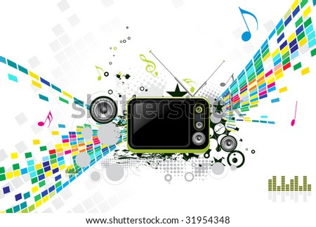 abstract mosaic vector composition with Retro television.