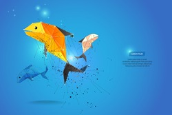 abstract motion background. dot line design. fish and zodiac concept. vector illustration