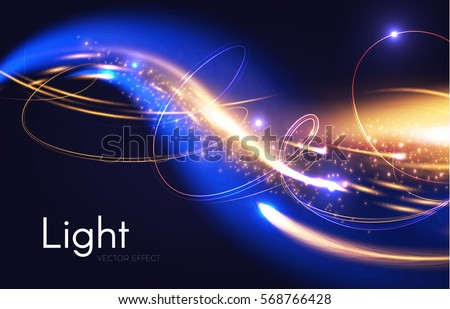 Stock Photo Abstract Motion Light Effect. Futuristic Wave Flash. Shining Space. Vector illustration