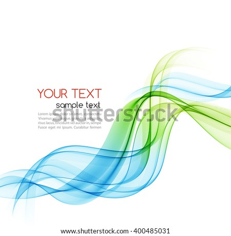 Abstract motion smooth color wave vector. Curve green and blue  lines.