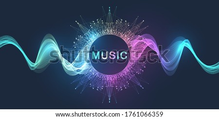 Abstract motion sound wave lines and dots dynamic vector background. Spiral pulse sound wave rhythm. Music wave poster design Stock photo ©