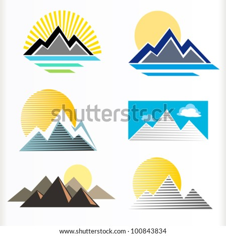 ABSTRACT MOUNTAIN AND HILLS ICON SET