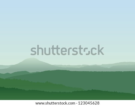 Abstract Mountain Landscape With Layered Forests and Blue Sky