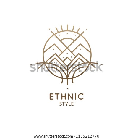 Abstract mountain logo. Vector geometric badge. Sacred decorative symbol. Outline icon of abstract landscape - business emblem for design cards, alchemy, zen, ecology, religion concepts, yoga Center.