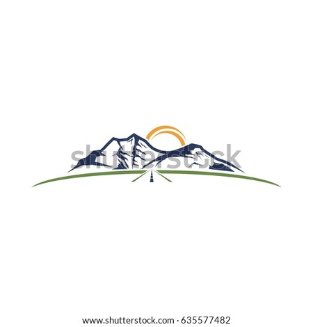 abstract mountain with road logo