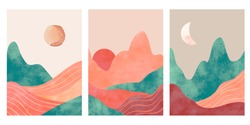 Abstract mountains. Aesthetic minimalist landscape with desert, mountain an sun or moon. Watercolor and paper textured print, vector posters. Illustration mountain landscape, travel art minimal scene