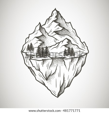 Abstract mountains. Hand drawn