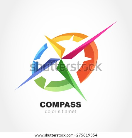 abstract multicolor compass