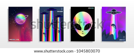 Abstract multicolored space covers. Cool trendy fluid gradient shapes. Vector holographic illustration