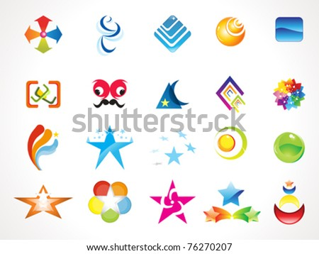 abstract multiple logo icons template vector illustration