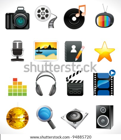 abstract multiple media icon set vector illustration