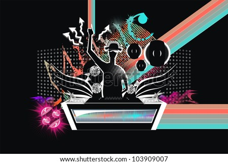 abstract music background club wings dj pult speakers. Black Bedroom Furniture Sets. Home Design Ideas