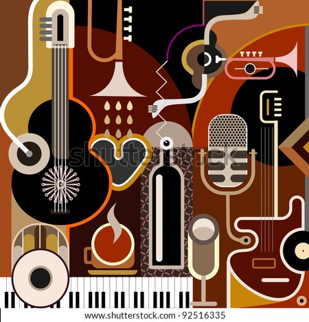 Abstract Music Background - vector illustration. Collage with musical instruments. - stock vector