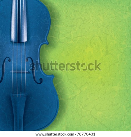 abstract music background with blue violin on green