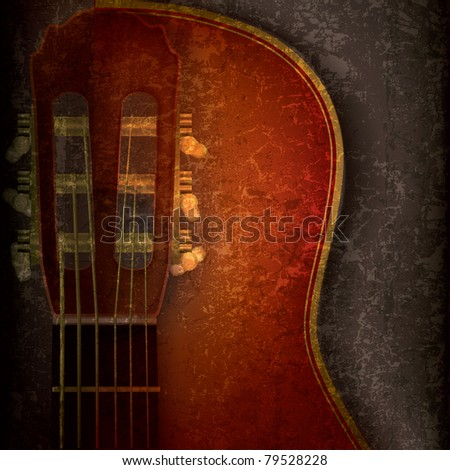 abstract music grunge background with acoustic guitar on grey