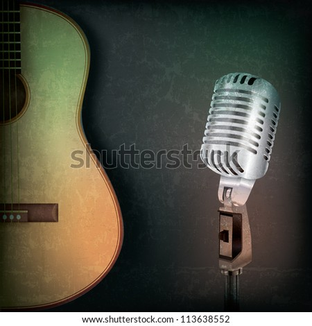 abstract music grunge background with retro microphone and guitar