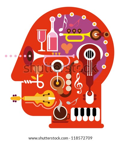 Abstract music head - isolated vector illustration on white background. Musical minds.